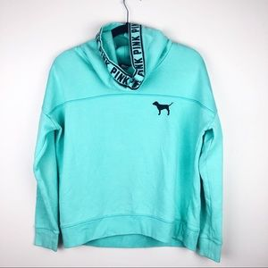 Pink Victoria Secret | Turquoise Cow Neck Hoodie